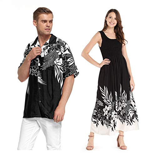 Couple Matching Hawaiian Luau Aloha Shirt Maxi Tank Dress in Indri Black 2XL