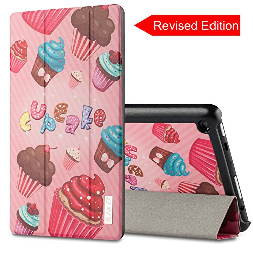 [Revised Edition] All-New Fire HD 8 Case, J&D Amazon All-New Fire HD 8 Tablet Smart Cover Slim Lightweight Protective Folding Case for Fire HD 8 (2016 Release, 6th Generation) - Cupcake - Cupcakes Amazon
