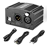 Phantom Power Supply, NUOSIYA 48V Phantom Power Supply, Stable Power Supply, Improved Shielding Technology, Anti-Noise, for Any Condenser Microphone Music Recording Equipment (1F1M-B, Black) (Color: Black, Tamaño: 1F1M-B)