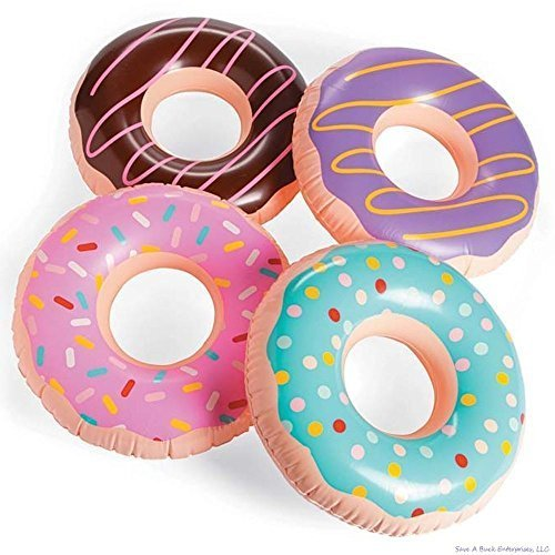 (4) 15 Inch Frosted Donut Shaped Inflatables - Blow Up Pool Party Favor Toys luau Novelty Items ()