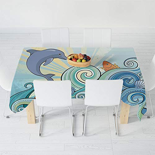 - Dust-Proof Tablecloth,Sea Animals Decor,for Kitchen Dinning Tabletop Decoration,40.2 X 30.3 Inch,Cartoon Dolphin Fish Starfish Shells Lights in