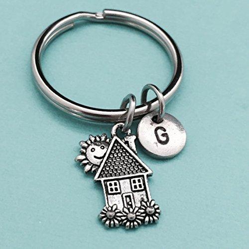 House keychain, house charm, place keychain, personalized keychain, initial keychain, initial charm, customized keychain, monogram