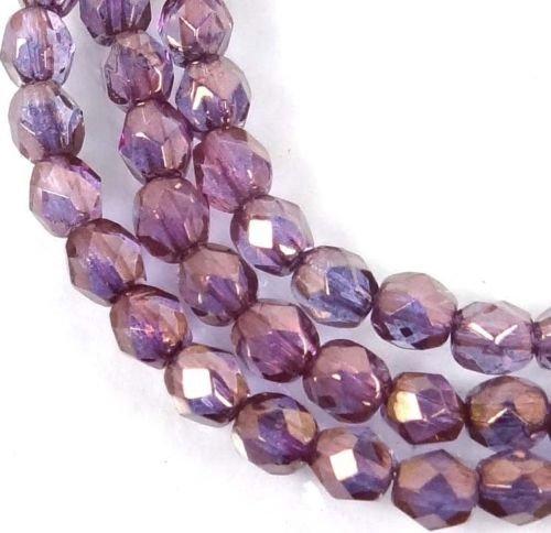 ShopForAllYou Decoration Beads 50 Firepolish Czech Glass Faceted Round Beads - Bronze Illusion 4mm
