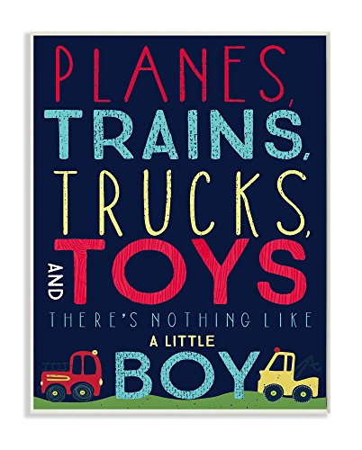 Stupell Home Décor Planes, Trains, Trucks and Toys Wall Plaque Art, 10 x 0.5 x 15, Proudly Made in USA by The Kids Room by Stupell