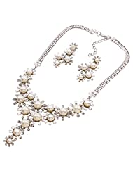 Yazilind Women's Silver Plated Imitation Pearl Rhinestone Choker Statement Necklace Earrings Set