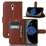 Doogee Y100 Pro Case, Popsky Lichee Lines PU Leather Stand Flip Wallet Case with Built-in Card Slots and Cash Compartment Premium Cover Case for Doogee Valencia2 Y100 Pro Phone (Brown)