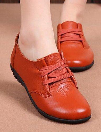 Tacón Mujer Comfort Casual Negro Oxfords Cn39 Rojo Njx Zapatos Amarillo Brown Redonda Marrón us8 Plano Eu39 Uk6 Punta Semicuero 2016 De AYztqwI