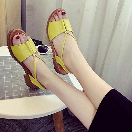 Sandalias de mujer, Internet Zapatos planos de las sandalias de Bohemia de las mujeres Amarillo