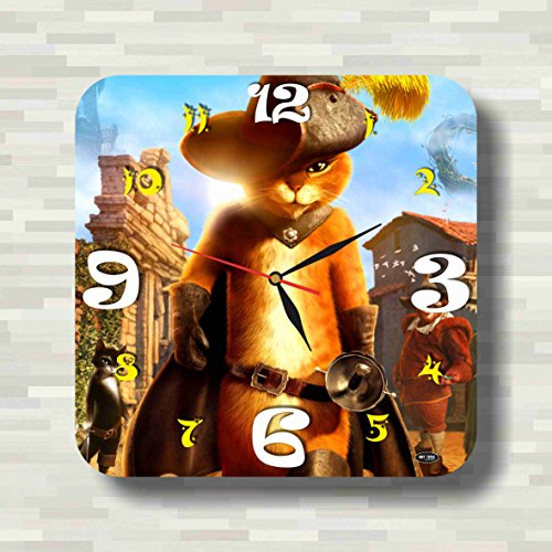 Puss in Boots 11.8'' Handmade unique Wall Clock - Get unique décor for home or office – Best gift ideas for kids, friends, (Puss In Boots Cat Costume Video)