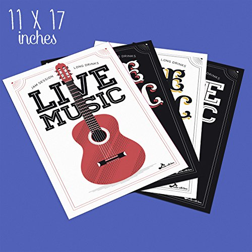 Made With Tone, Limited Edition: ACOUSTIC GUITAR Posters, Set Of Four 11X17 Vintage Music and Old School Electric Guitar Poster of 1MM Thick, Live Music Wall art for Musicians and Decor!
