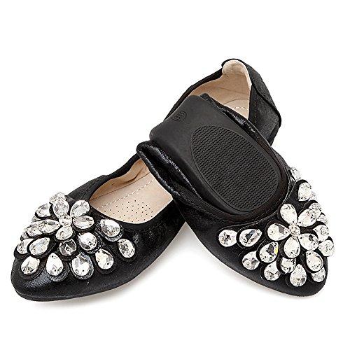 Meeshine Damen Faltbare weiche Spitzschuh Ballerinas Strass Komfort Slip auf flache Schuhe Schwarz 01