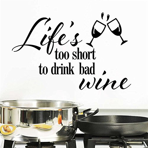 BIBITIME Double Wine Glasses Sayings Quotes Life's too short to drink bad wine Vinyl Wall Decal for Kitchen Window Shelf Living Room Dining Rooms PVC Decorations