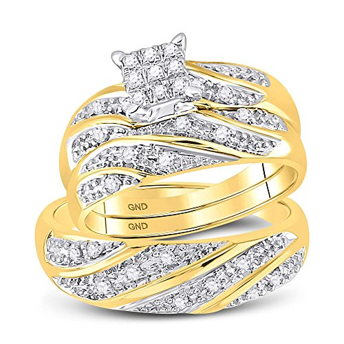 Sizes - L = 6, M = 10 - 10k Yellow and White 2 Two Tone Gold Mens and Ladies Couple His & Hers Trio 3 Three Ring Bridal Matching Engagement Wedding Ring Band Set - Round Diamonds - Princess Shape Center Setting (1/4 cttw) - Please use drop down menu to select your desired ring sizes