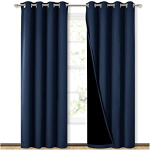 NICETOWN 100% Blackout Blinds, Laundry Room Decor Window Treatment Curtains, Thermal Insulated Energy Smart Drapes and Draperies for Villa, Hall and Studio, Navy, Set of 2, 52 inches x 95 inches