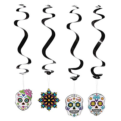Day of the Dead Party Decoration Dangling Swirls - 12 pcs