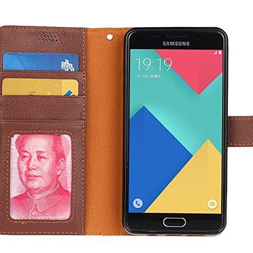 Galaxy A9 Funda,Aomo Samsung A9 Case Cubierta del caso con cuero [estilo del libro][ranuras para tarjetas][Caso del tirón] de la caja del teléfono de la PU de cuero protectora para Samsung A9-Azul Rosso