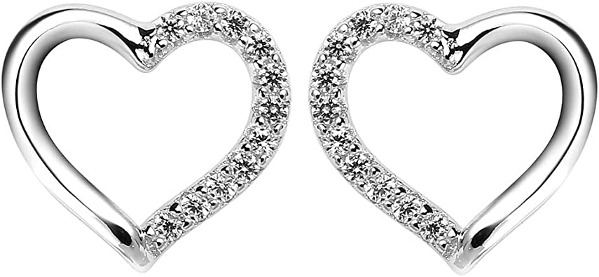 Orecchini in argento 925 a forma di CUORE da donna o ragazza rodiato oro bianco