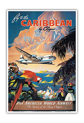 Fly To The Caribbean By Clipper   Pan American World Airways  Paa    Vintage Airline Travel Poster By Mark Von Arenburg C 1940S   Master Art Print   13In X 19In