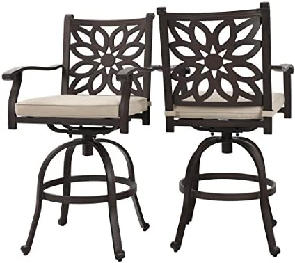 PHI VILLA Extra Wide Outdoor Patio Pub Height Swivel Bar Stools Cast Aluminum Arms Chairs Set of 2 with Seat Cushion