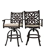 Cheap PHI VILLA Extra Wide Outdoor Patio Pub Height Swivel Bar Stools Cast Aluminum Arms Chairs Set of 2 Seat Cushion