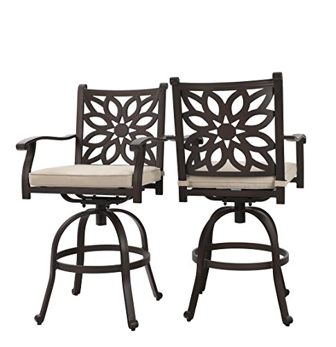 PHI VILLA Extra Wide Outdoor Patio Pub Height Swivel Bar Stools Cast Aluminum Arms Chairs Set of 2 with Seat - Arm Aluminum Chairs