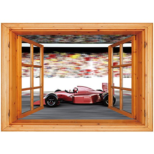 - 3D Depth Illusion Vinyl Wall Decal Sticker [ Cars,Motor Sports Red Race Car Side View on a Track Leading the Pack with Motion Blur,Gray Red Black ] Window Frame Style Home Decor Art Removable Wall Sti