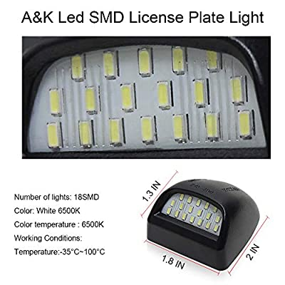 A&K Led License Plate Light for Chevy Silverado, Tahoe & Suburban, Cadillac Escalade, GMC Sierra, GMC Yukon & Yukon XL, License Plate Lamp Assembly with 18 SMD, 6500K, White, 2Pcs: Automotive