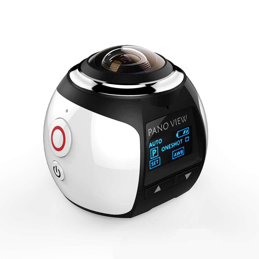 4K WiFi Panorama-Kamera, Wireless 3D VR 360 Grad Panorama-Action Sport Kamera, wasserdicht, 230° großes Objektiv Mini DV Player, weiß