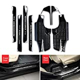 Fit for Toyota Highlander Kluger 2015-2018 8 PCS Inner External Stainless Steel Door Sill Scuff Plate Guard Sills Protector Trim - Black