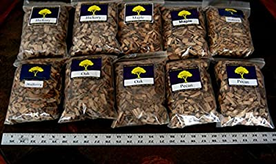 J.C.'s Smoking Wood Chips - Variety #1 - 10 Pk - #2 65 Cu Inch Quart Bags of Hickory, Maple, Mulberry, Oak, & Pecan by J.C.'s Smoking Wood Products