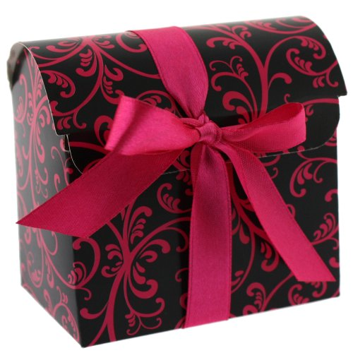 30 Cute Paper Party Favor Boxes in Dome Style Damask (Pink/Black Damask) -