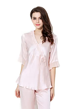 93d311a3e89e CLC Women s Pure Mulberry Silk Nightshirt Pajama Set Sleep Sets at ...
