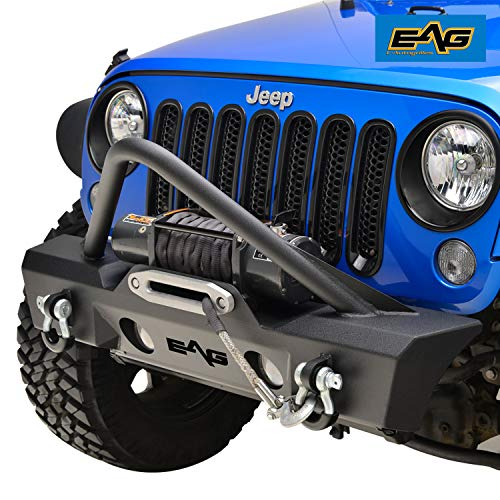 EAG 2007-2018 Jeep Wrangler JK Stinger Front Bumper With OE Fog Light Holes and Winch Plate