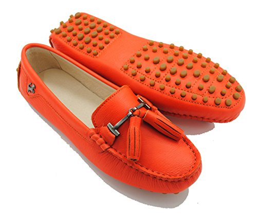 Minitoo - Sandalias con cuña mujer Leather-Orange Red