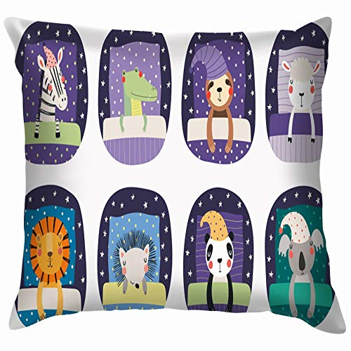(Set Cute Funny Sleeping Animals Nightcap Wildlife Blanket Cotton Throw Pillow Case Cushion Cover Home Office Decorative, Square 26X26 Inch)