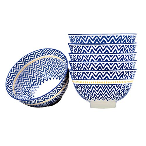 Porcelain Deep Soup/Salad/Cereal Bowls Set of 6, 5.6 Inch - Blue