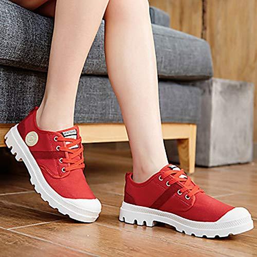 TTSHOES Mujer Zapatos PU Primavera/Otoño Confort/Suelas con Luz Zapatillas De Atletismo Paseo Tacón Plano Dedo Redondo con Cordón Verde /,Red,US7.5/EU38/UK5.5/CN38