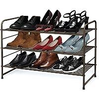 Simple Trending 3-Tier Stackable Shoe Rack, Expandable & Adjustable Shoe Shelf Storage Organizer, Wire Grid,