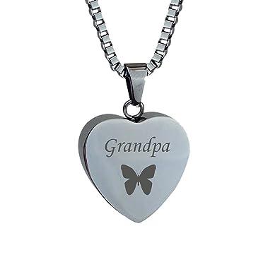 Dad Butterfly Heart Urn Pendant - Memorial Ash Keepsake - Cremation Jewellery ZMYOWG7