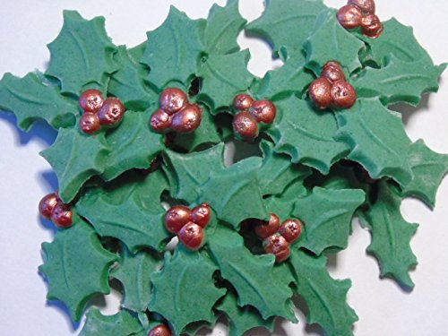 Christmas Cupcake Cake Decorations - 12 Holly Leaves with Berries Simply Toppers
