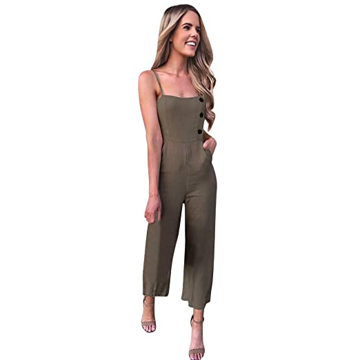 4365a894076 Dainzuy Women Casual Jumpsuits Loose Sleeveless Button Open Back Wide Leg Pants  Romper Plus Size Overalls