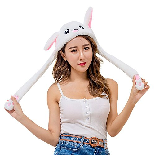 OutTop(TM) Unisex Flipeez Cap Cute Rabbit Ear Hat Can Move Airbag Magnet Cap Plush Gift Dance Toy (White) ()