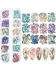 12 Colors Peacock Nail Art Crushed Abalone Shells Box, Beauties Factory 3D Nail Art Ocean Style Irregular Flakes Thin Slices Art & Craft Kit