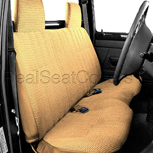 (RealSeatCovers for Front Bench Thick A25 Molded Headrest Small Notched Cushion Seat Cover for Toyota Pickup 1984-1989 (Beige, Tan))