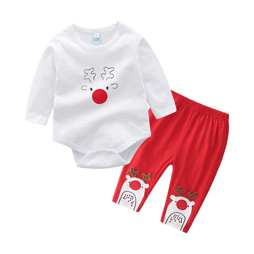 Infant Baby Boys Girls Cartoon Christmas Xmas Deer Romper Pants Outfits Set