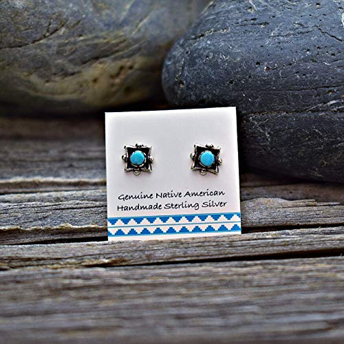 (Genuine Sleeping Beauty Turquoise Concho Stud Earrings in 925 Sterling Silver, Authentic Native American, Handmade in the USA, Nickle Free)
