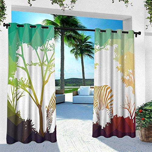 Hengshu Africa, Outdoor Privacy Curtain for Pergola,Digital Zebra Figure in Fractal Display Vivid Colors A Look at Kenya Illustration, W120 x L108 Inch, ()