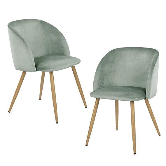 Yata Home - Juego de 2 sillones de Tela de Terciopelo Retro ...