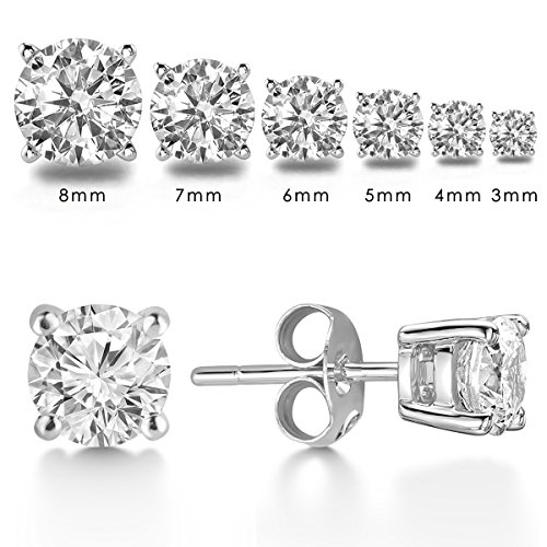 LIEBLICH-Womens-Round-Cut-Cubic-Zirconia-Stainless-Steel-Earrings-Studs-Plated-White-Gold-3mm-8mm-6-Pairs