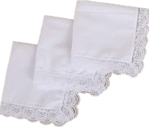 12x Vintage Women 100/% Cotton Handkerchief Embroidery Lace Hanky Hankies Scarves